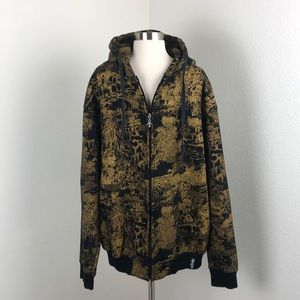LRG gold and black zip up hooded jacket